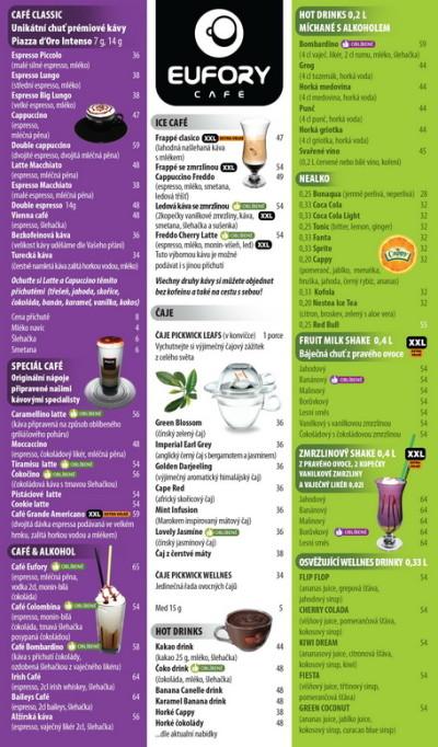 Grafické zpracování jídelních a nápojových lístků